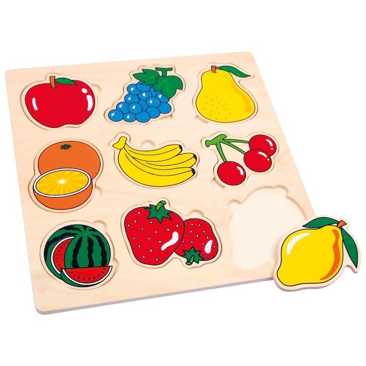 Puzzle in legno per bambini con forme frutti