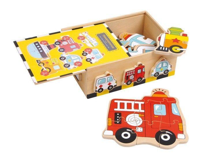 Puzzle/box veicoli in legno gioco/giocatolo x bambino/bambina