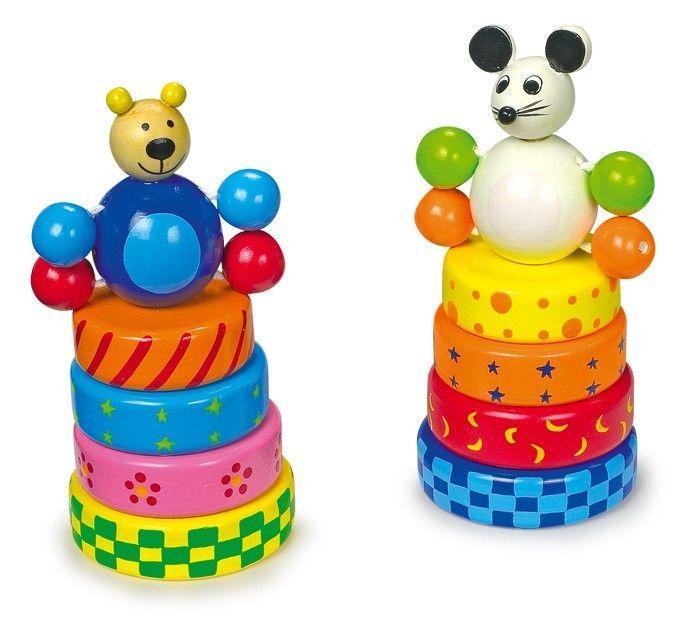 Topo e Orso ad incastro in legno colorato Gioco x bambini