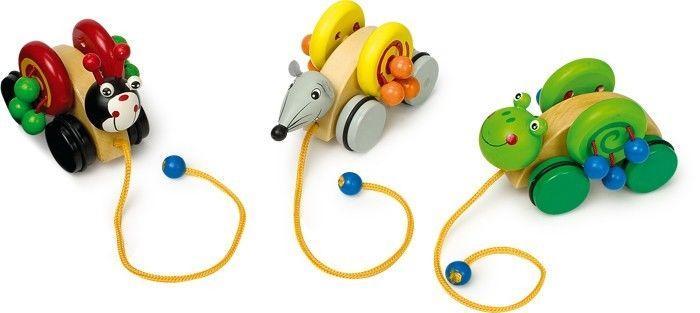 Animali da tirare in legno Gioco x bambino/bambina. Set da 3