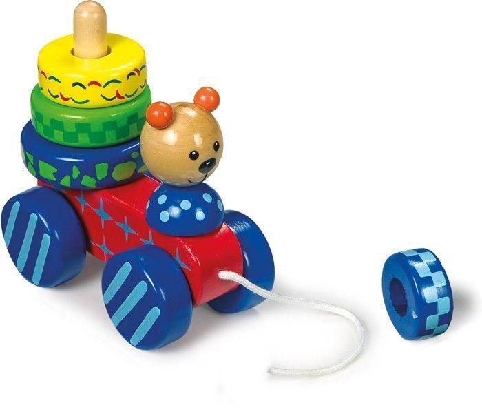 Orso/orsetto in legno da tirare Gioco x bambino/bambina