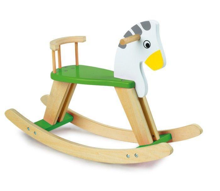 Cavallo a dondolo in legno con schienale Gioco x bambini