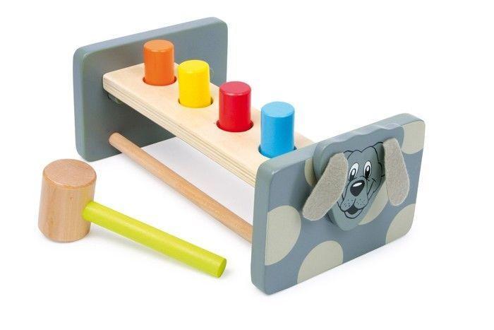 Gioco da battere con martello Mod. Cane x bambini in legno