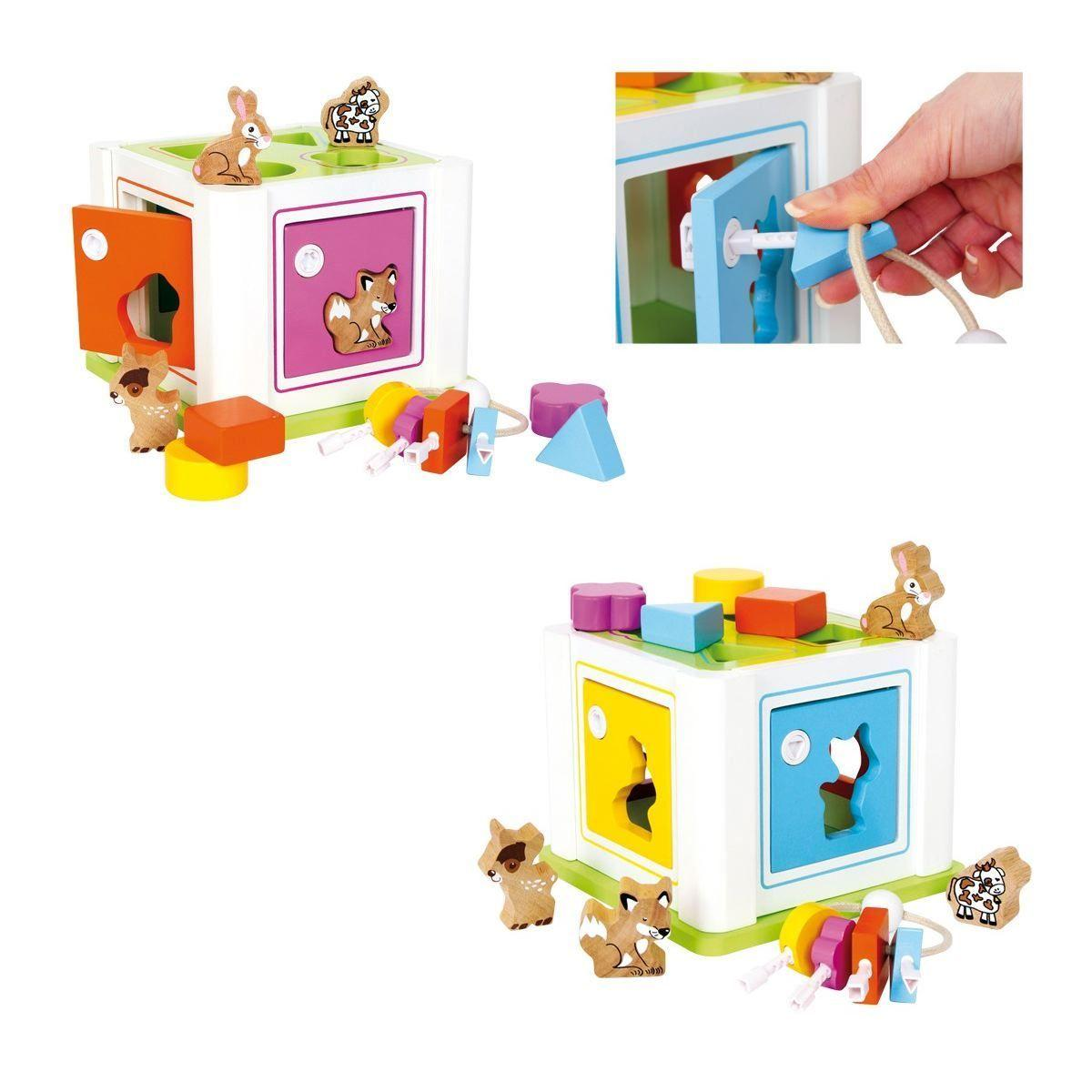 Box cubo ad incastro con animali e forme gioco x bambini in legno