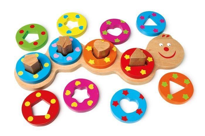 Bruco ad inserto con forme geometriche in legno Gioco x bambini
