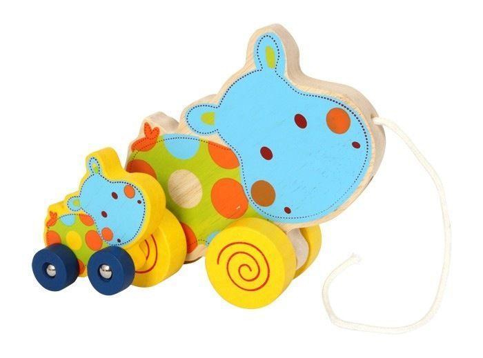 Gioco in legno per neonato/bambino Ippopotamo da tirare
