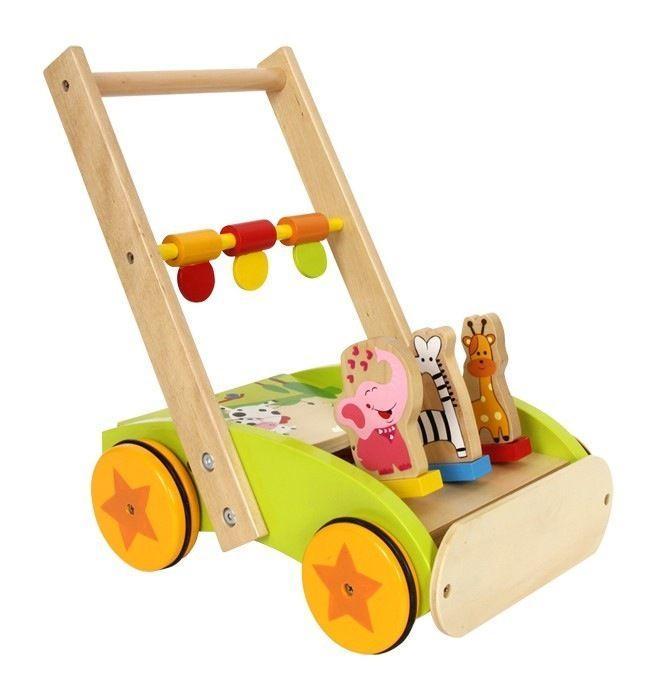 Gioco in legno carrello o girello Primi Passi con animali x bambini