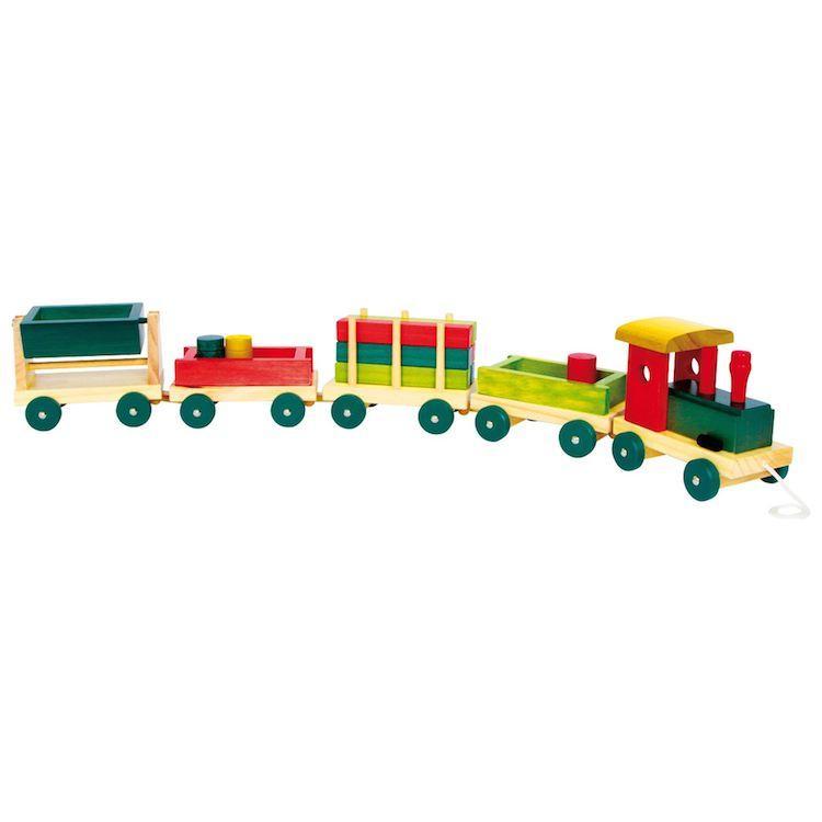Trenino in legno colorato con elementi rimovibili, giocattolo per bambini