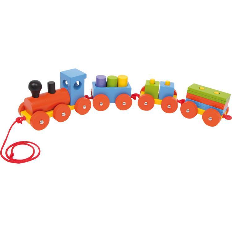 Trenino in legno colorato con accessori. Idea regalo, gioco per bambini
