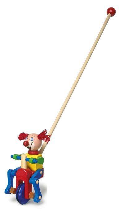 Clown in legno con Ciuffo Rosso da spingere, gioco bambini