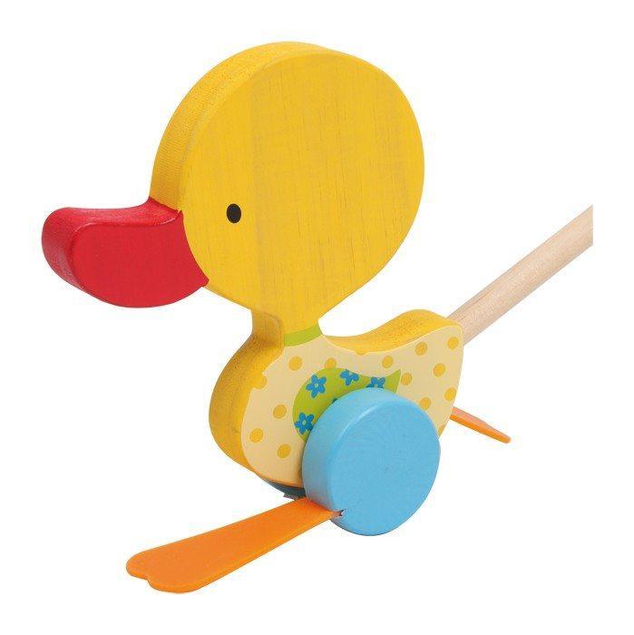 Papera gialla in legno da spingere, gioco bambini