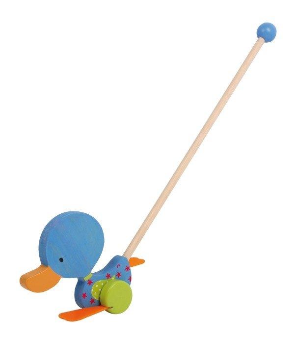 Papera barcollante con suoni da spingere in legno, gioco bambini