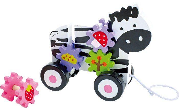 Zebra colorata da tirare in legno, giocattolo bambini