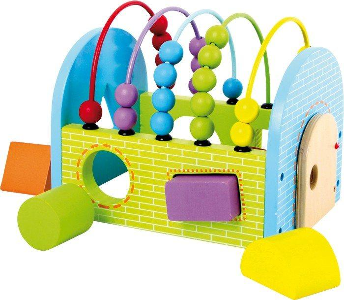 Cubo/gioco attività in legno massiccio e colorato per imparare forme e colori,giocattolo bambini