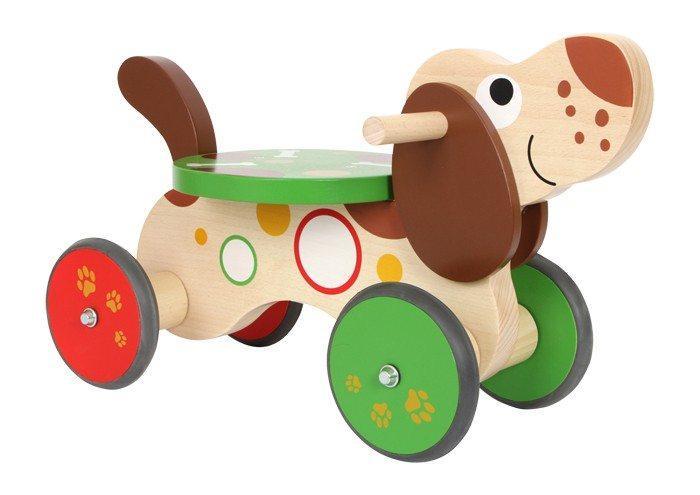 Primi passi quadriciclo in legno cane Bassotto gioco per bambini