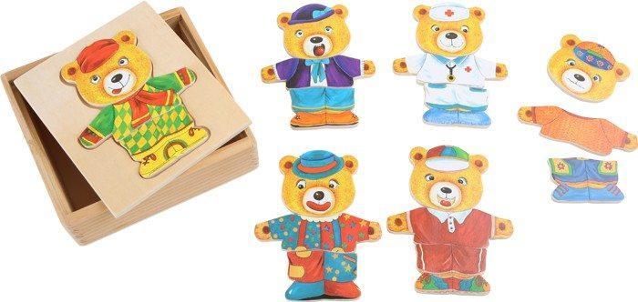 Orsetti da vestire in legno, giocattolo di motricità e concentrazioni x bambini