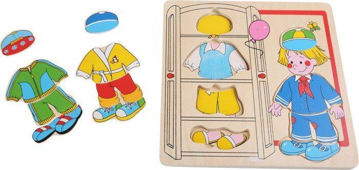 Puzzle Bambola da vestire Ragazzo in legno. Gioco divertente per bambini