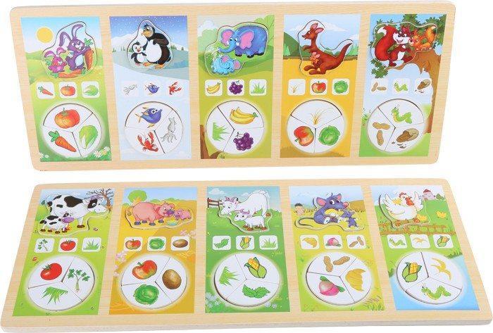 Puzzle gioco assegnazione cibo animali in legno. Giocattolo motricità bambini