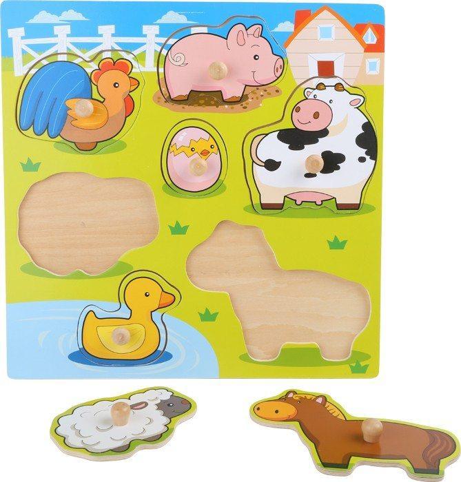 Puzzle in legno animali della fattoria. Gioco per bambini