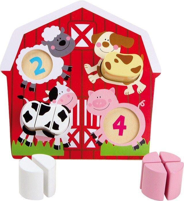 Puzzle in legno Animali nella fattoria con numeri e forme gioco per bambini