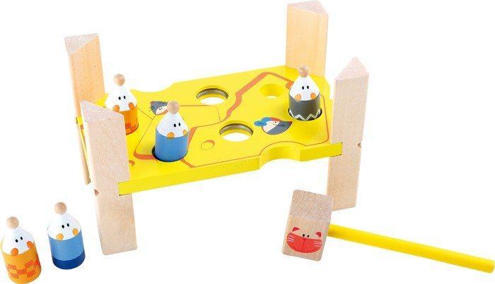 Martelletto Gatto & Topo gioco motricità in legno per bambini