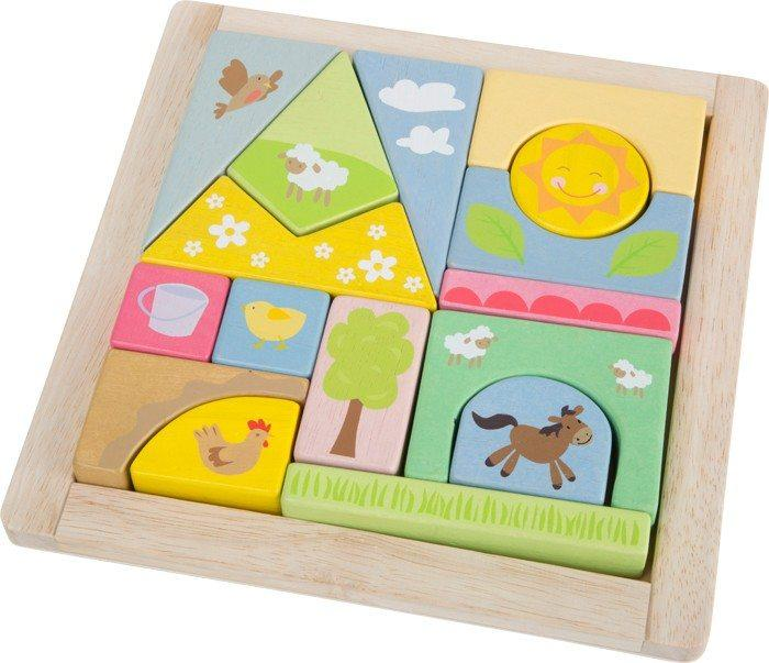 Puzzle ad incastro in legno animali Fattoria con cornice. Gioco per neonato bambino