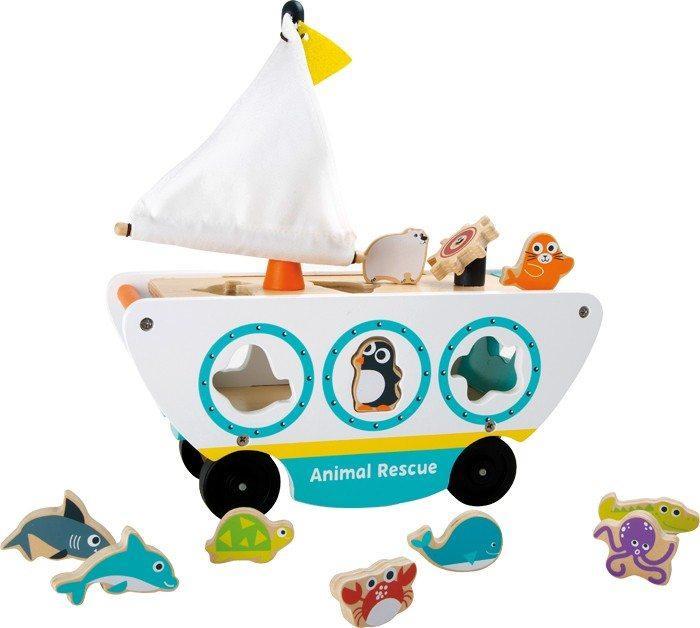 Gioco ad incastro Veicolo barca animali in legno. Giocattolo per bambini