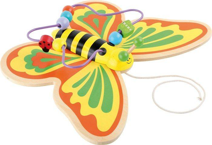 Farfalla in legno da tirare gioco attività motricità per bambini