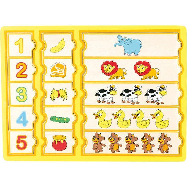 Imparare i numeri con i cibi preferiti, puzzle per bambini