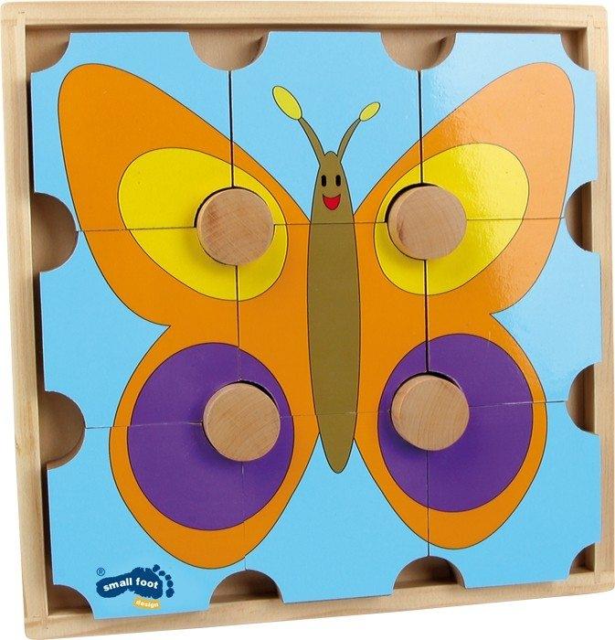 Puzzle ad incastro in legno Orso e farfalla. Gioco per bambini