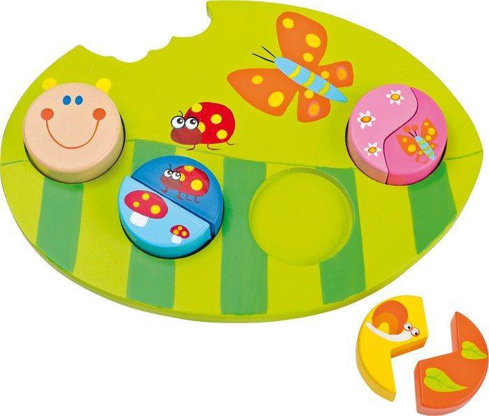 Puzzle ad Incastro in legno colorato forma Foglia. Gioco per bambini