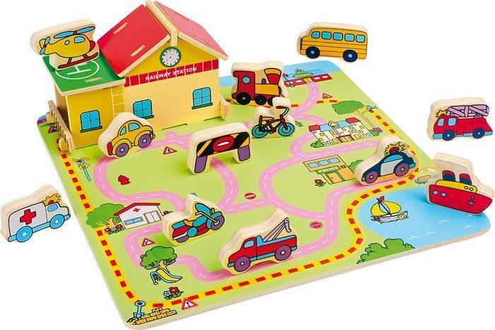 Puzzle in legno ad incastro Traffico stradale. Gioco per bambini