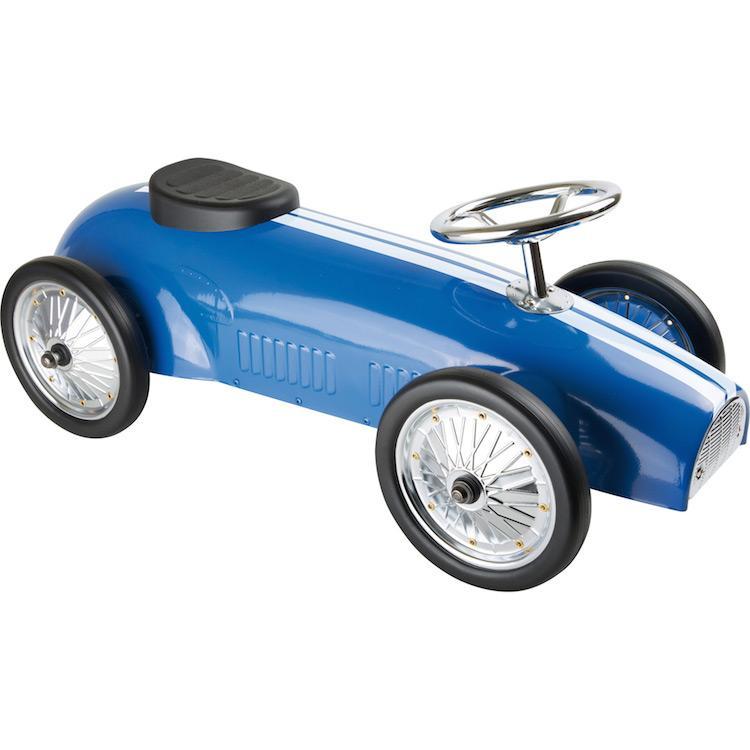 Automobile a spinta Auto da rally blu Roadster. Giocattolo per bambini