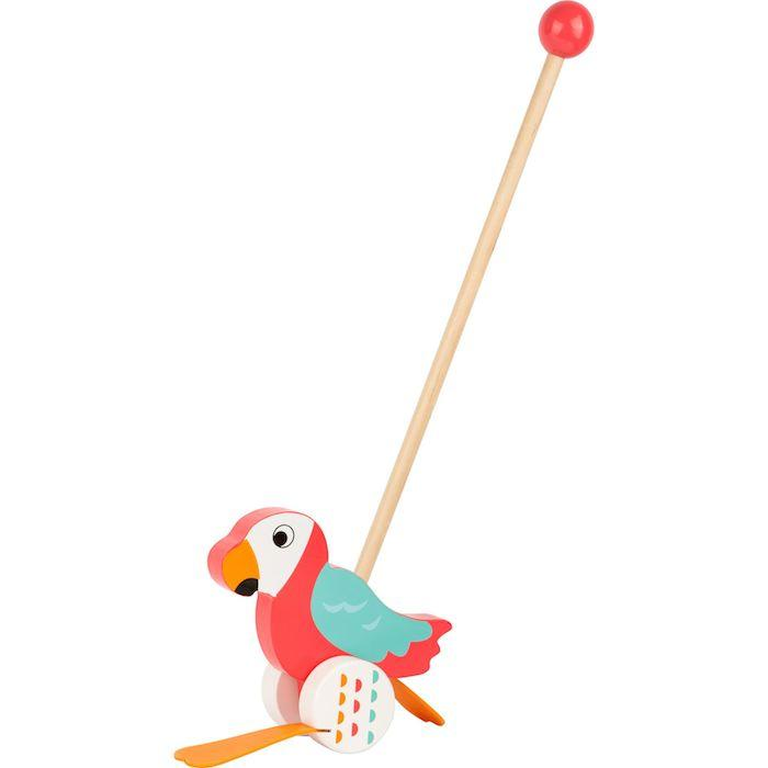 Papagallo da spingere in legno LORI. Gioco bambini Legler 10475
