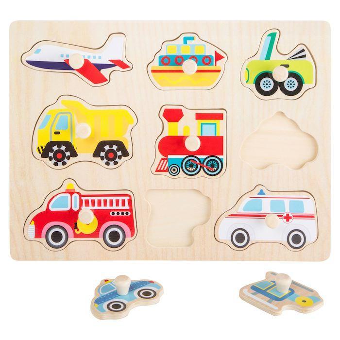 Puzzle in legno ad incastro VEICOLI Gioco bambini Legler 10446