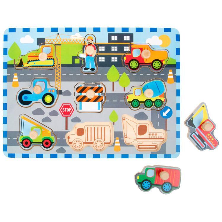 Puzzle in legno Cantiere stradale 9 pezzi