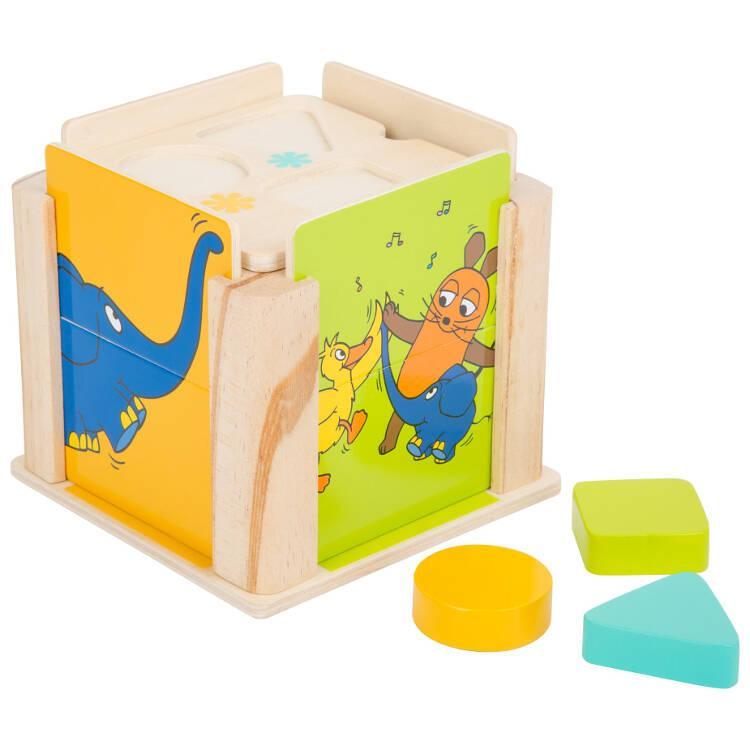 Gioco motricità scatola ad incastro in legno Elefante Die Maus