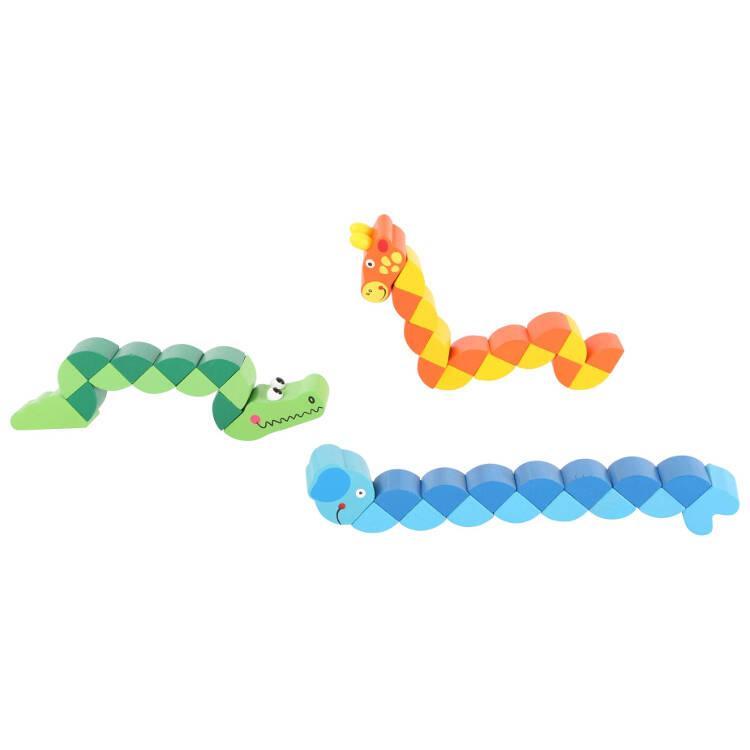 Animali flessibilli gioco in legno per bambini espositore display