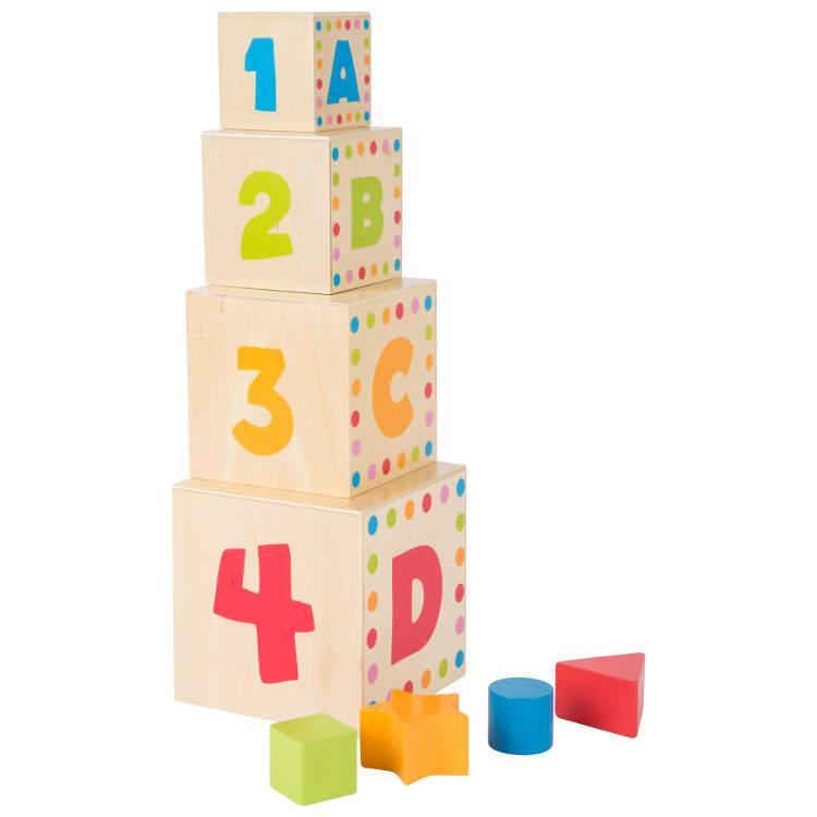 Dadi da accatastare ABC in legno Gioco motricità per bambini