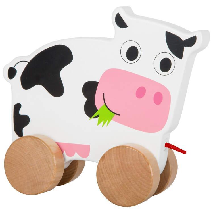 Mucca da trainare in legno