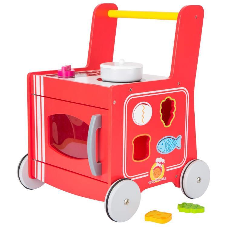 Cucina e Carrello primi passi in legno colorato Gioco motricità bambini
