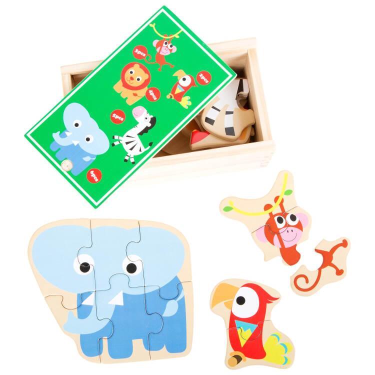 Animali feroci dello zoo Puzzle in scatola gioco in legno per bambini
