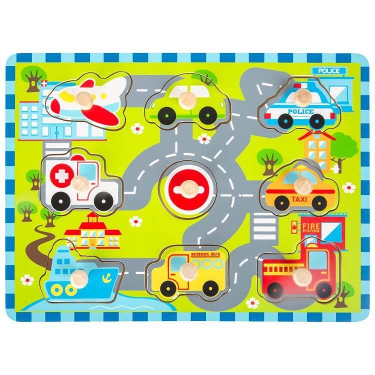 Puzzle in legno Traffico urbano gioco bambini