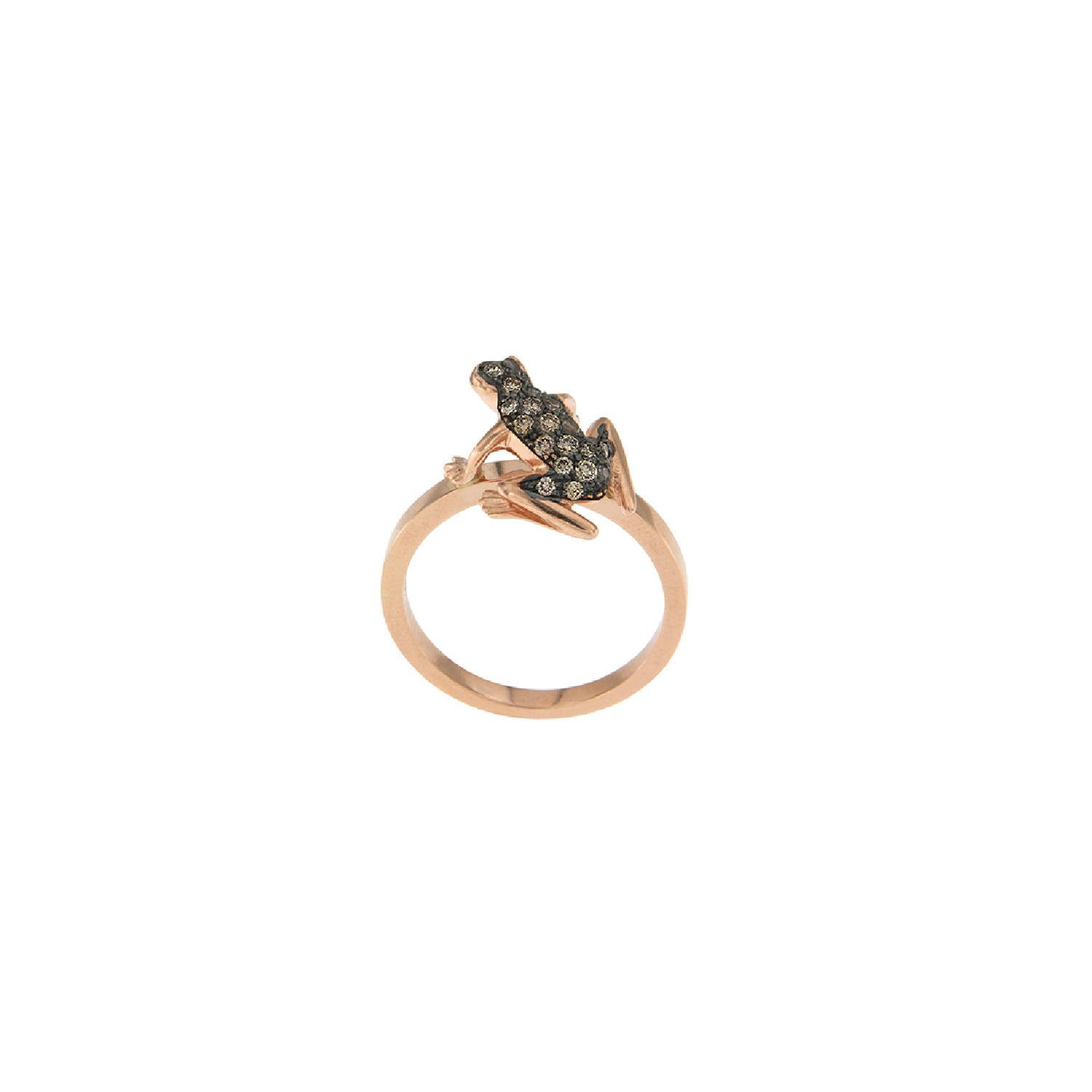 Anello Kissing Frog in oro 18k e diamanti