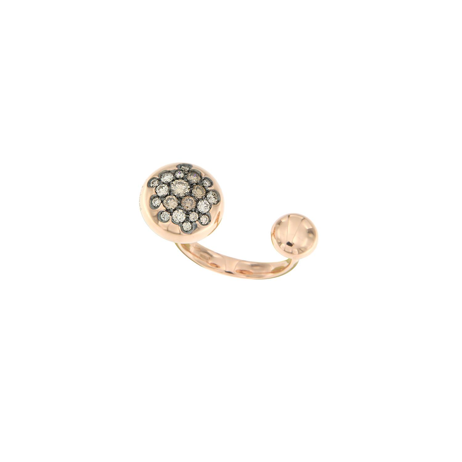 Anello Glamour borchie in oro rosa e diamanti brown