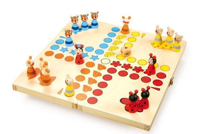 Ludo animali gioco classico di società da tavolo in legno