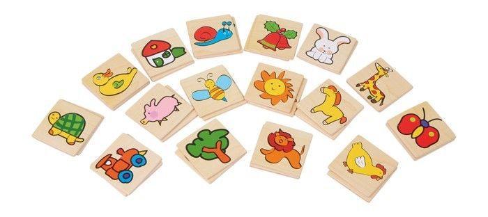 Memo variopinto con 32 piastrine gioco in legno per bambini