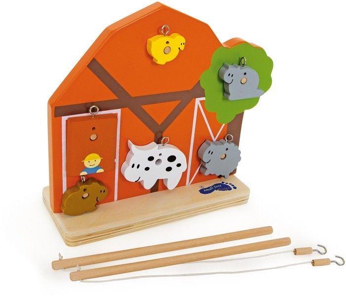Gioco Pesca animali uno contro l'altro con canne e 12 figure in legno per bambini