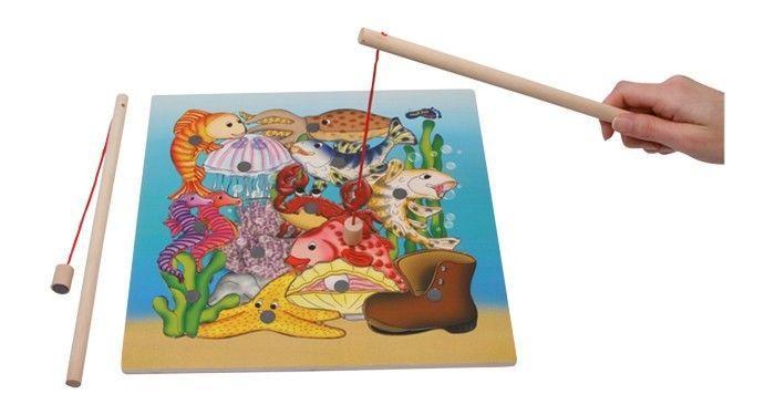 puzzle magnetico da pescare 13 elementi acquario legno gioco per bambini