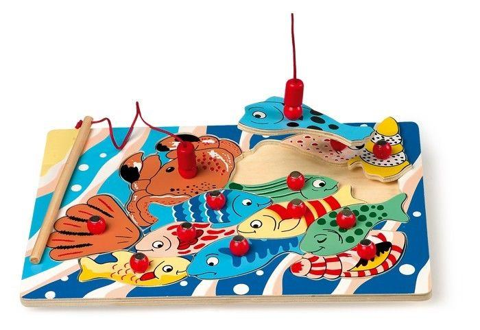 puzzle ad incastro in legno da pescare gioco per bambini